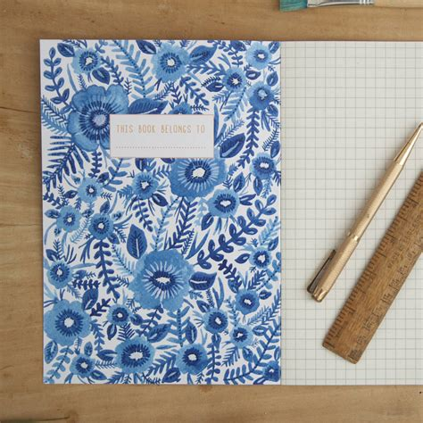 a5 patterned notebook blue floral pattern illustrated a5 notebook by little