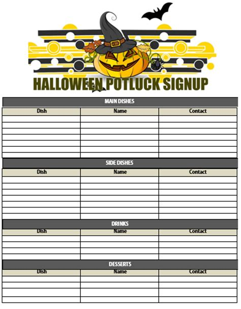 potluck signup sheet template word 10 potluck signup sheets printable word