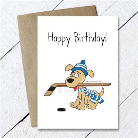 printable birthday cards hockey hockey dog birthday card saucy mitts hockey
