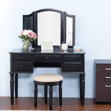 Vanity Table With Mirror And Stool 3 Set by Merax Black Vanity Table Set With Mirror And Stool Make Up