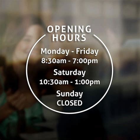 design cafe hours opening hours times sign self adhesive shop window