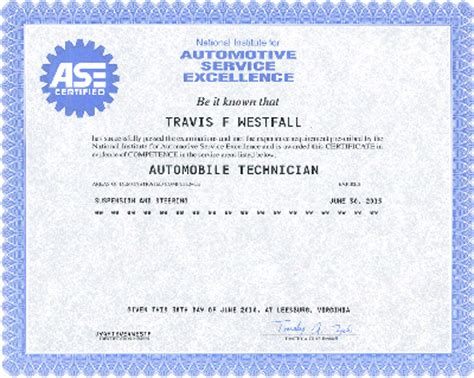 blank ase certificate related keywords blank ase