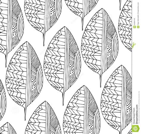 leaf pattern line drawing seamless drawing pattern with decorative leaves vector