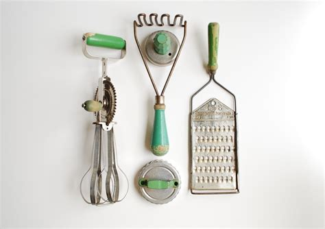 Vintage Kitchen Utensils instant collection vintage green handled kitchen utensils