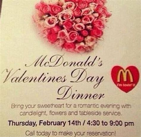 valentines reservations valentine s day at mcdonalds now accepting reservations