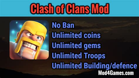 clash of clans apk unlimited gems clash of clans unlimited mod hack apk no ban mod4games