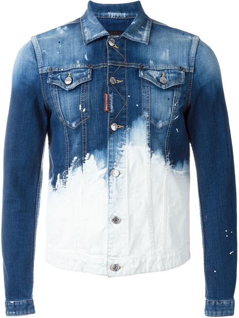 dsquared 178 paint splatter denim jacket in blue for lyst