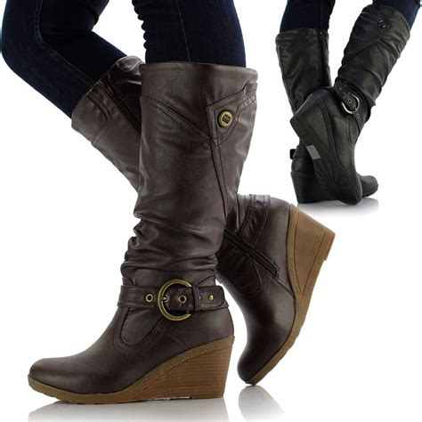 womens flat biker boots womens leather style medium flat wedge knee high