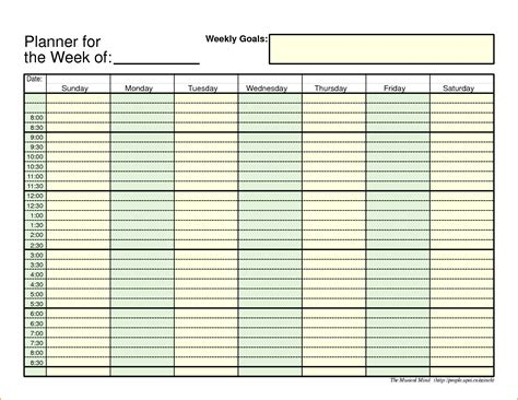 printable excel templates 5 weekly planner template excel teknoswitch
