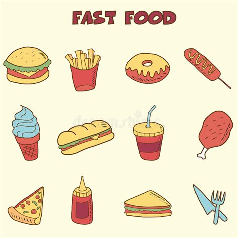 doodle food icons vector fast food doodle icons stock vector illustration of
