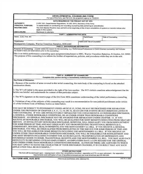 48 Counseling Form Exles Army Counseling Templates