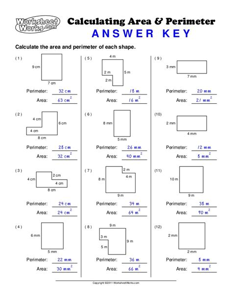calculating area and perimeter worksheet answers