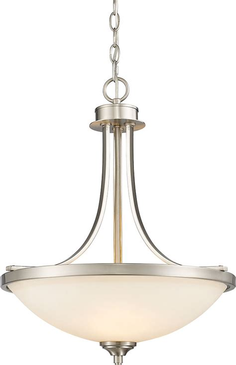 Brushed Nickel Lighting Fixtures Brushed Nickel Hanging Light Fixtures Z Lite 435p Bn Bordeaux Brushed Nickel Hanging Light