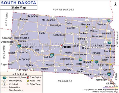 south dakota in usa map south dakota state map