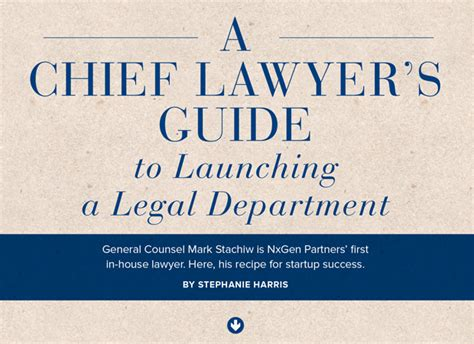 a barrister s guide to a chief lawyer s guide to launching a department