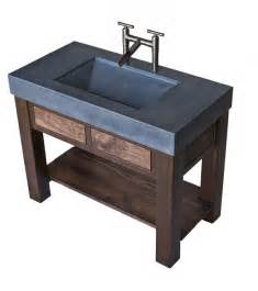 Concrete trough sink with patinaed steel and black walnut