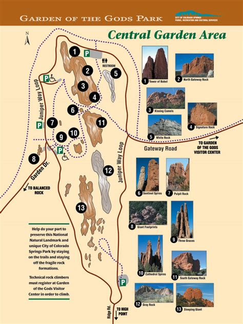 Garden Of The Gods Trail Map City Of Colorado Springs Central Garden Area
