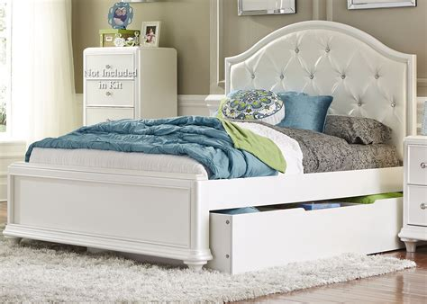 Stardust Iridescent White Youth Panel Trundle Bedroom Set White Trundle Bedroom Set