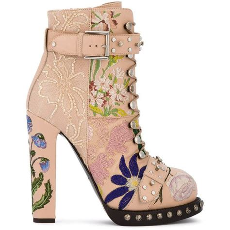 pattern heels polyvore alexander mcqueen floral embroidered heeled ankle boots