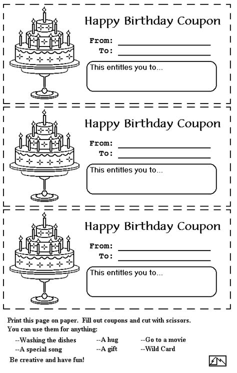 printable birthday coupon template birthday coupons primary disney ideas and