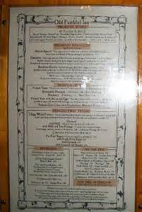 Old Faithful Inn Dining Room Menu partial lunch menu september 2012 picture of old faithful inn