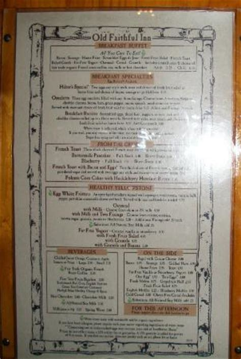 old faithful inn dining room menu partial lunch menu september 2012 picture of old faithful inn restaurant yellowstone