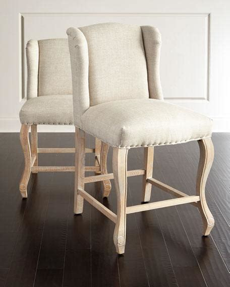 Beige Linen Bar Stools by Beige Linen Winged Counter Stool