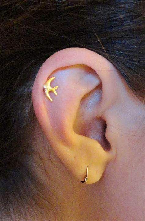 14kt gold sparrow bird cartilage earring tragus helix piercing