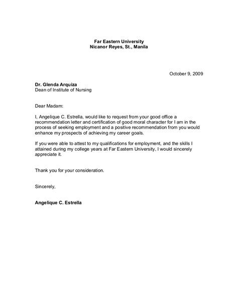 letter request for a certification exle of request letter for employment certificate