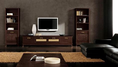 modern ethnic living room with small TV stand and two