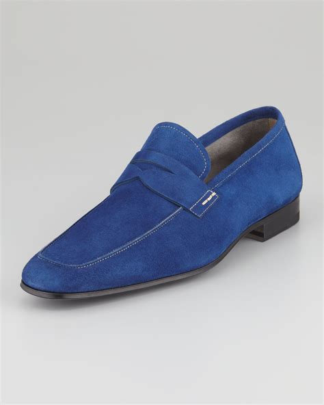 royal blue loafers for lyst neiman suede loafer royal blue in blue