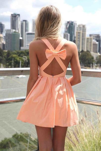 Bow Back Dress A21924 Apricot dress s fashion apricot cross back