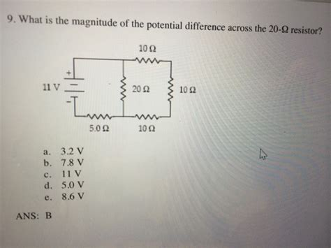 potential difference across 10 ohm resistor what is the magnitude of the potential difference chegg