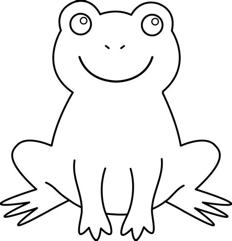 frog coloring page outline colorable cute frog free clip art
