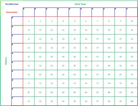 football blocks template printable 100 square football pool sheet bowl block