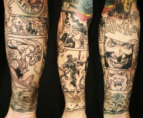 strip tattoo designs comic sleeve ideas