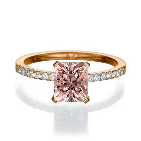1 50 carat emerald cut morganite engagement ring in 10k