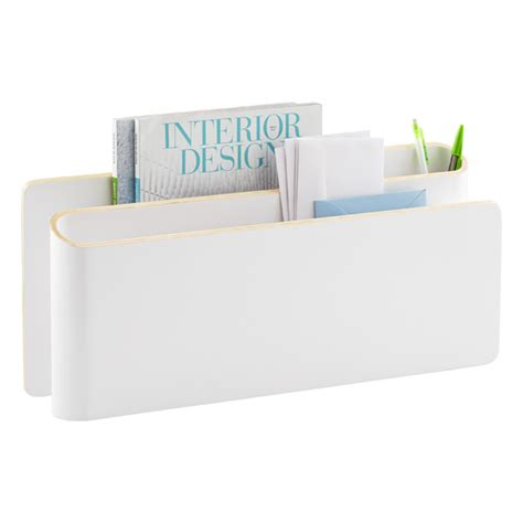 White Desk Organizers Three By Three White Up Rise Desktop Organizer The Container Store