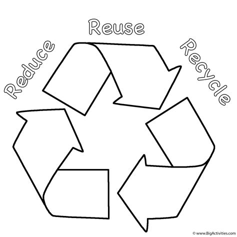 Reduce Reuse Recycle Coloring Page Earth Day