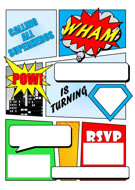 superhero comic book party invitation with free printable