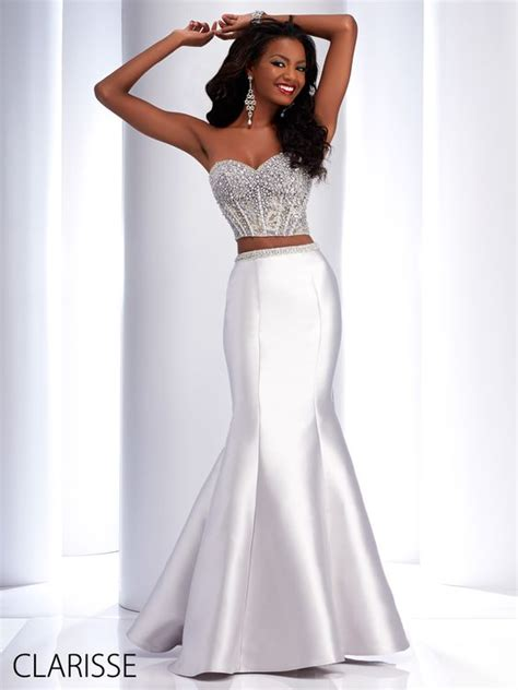 Megan Top Renda Silver clarisse 2016 couture two prom dress style 4706 in