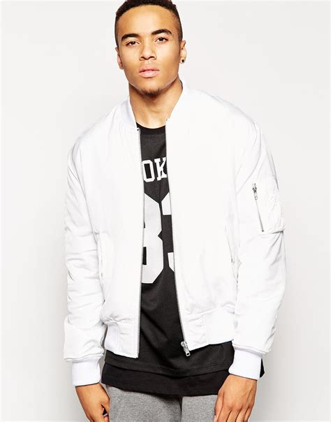 Bomber Black White White Atasan Jaket Bomber asos bomber jacket with ma1 pocket in white in white for lyst