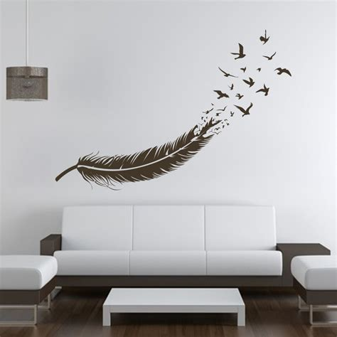 mural wall decals aliexpress buy abstract feather into birds vinyl wall decal custom your color sticker wall