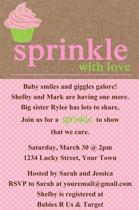 sprinkle invitations templates sprinkle baby shower cupcake invitation template 4x6