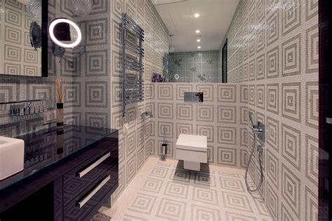 beautiful modern bathroom geometric patterned tiles in beautiful modern bathroom interior