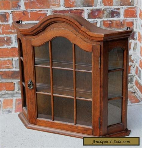 Cabinet Bonnet by Antique Oak Dome Top Wall Shelf Curio Glass Cabinet