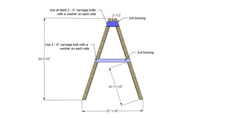 swing a frame plans swing set leg angle bracing 2 for free diy furniture