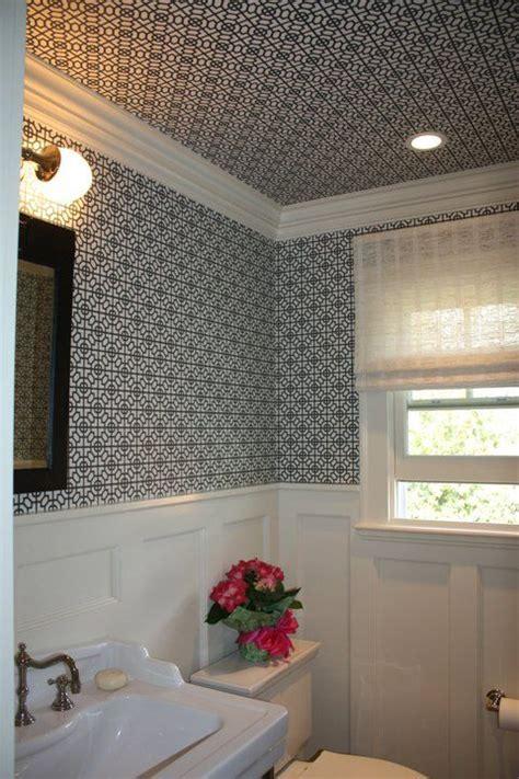 Wallpaper Wainscoting Ideas by Powder Room Wallpaper Ceiling Evars