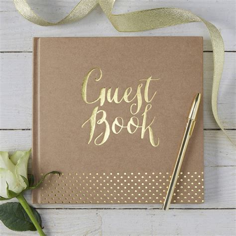 wedding guest book pictures brown kraft and gold foiled wedding guest book by