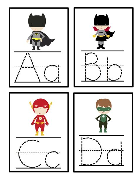 printable letter cards for tracing super hero alphabet tracing cards preschool printables